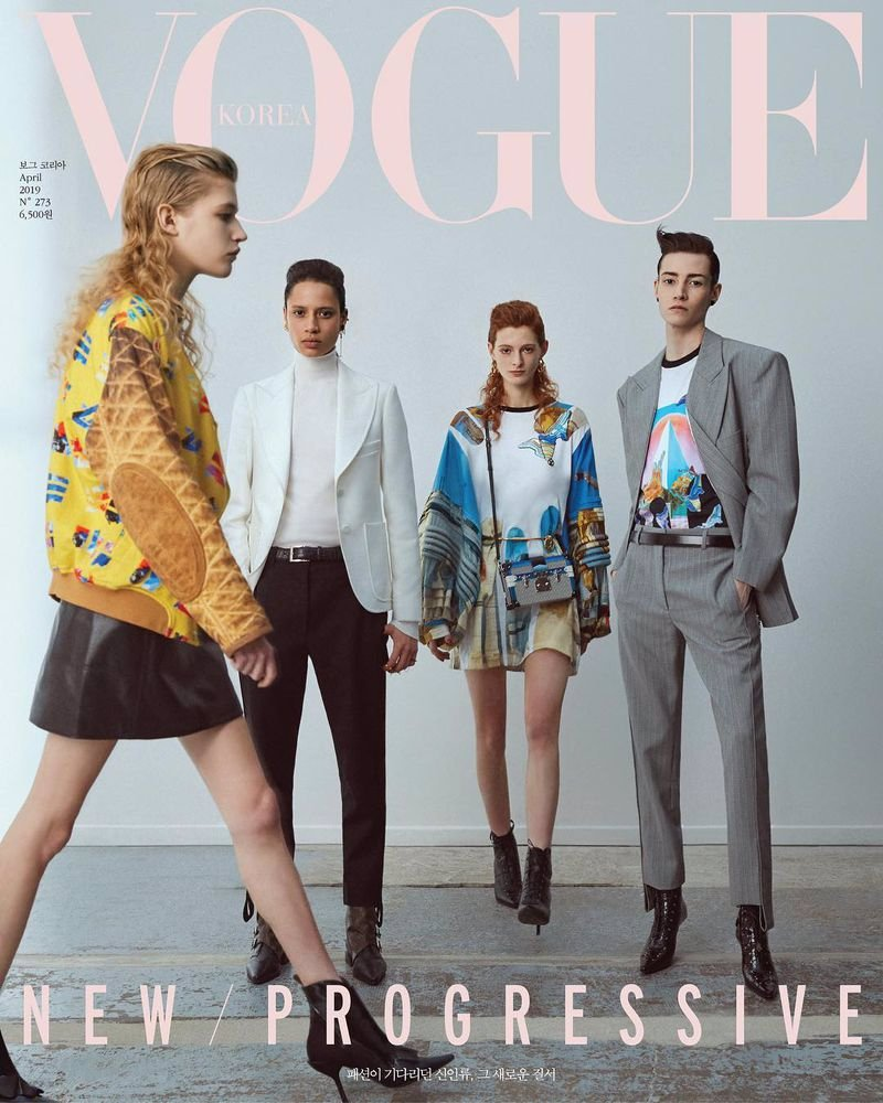 Vogue Korea April 2019 Cover ph: Hyea W. Kang models: Alyssa Sardine, Clementine Balcaen, Krow Kian…